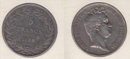 France  5 Francs 1830 A Louis Philippe I  Tranche En Relief Tête Nue  1830A - France