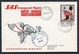 1969 Port Of Spain Trinidad SAS First Flight - Zurich Switzerland - Trinidad & Tobago (1962-...)