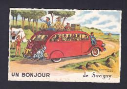 Un Bonjour De Savigny (88) ( Illustration Jean Chaperon Autocar Camping Vacances Ed. Picard) - France