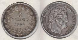 France  5 Francs 1844 BB Louis Philippe I  Tranche En Relief Tête Laurée  1844BB - J. 5 Francs