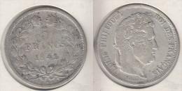 France  5 Francs 1841 W  Louis Philippe I  Tranche En Relief Tête Laurée  1841W - France
