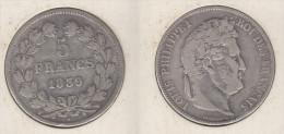 France  5 Francs 1839 W  Louis Philippe I  Tranche En Relief  Tête Laurée 1839W - France