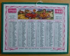 Petit calendrier des Postes 1960 Offert par Facteurs T�l�graphistes OLLER