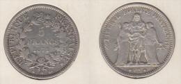 France  5 Francs 1871 A  Hercule  Abeille  1871A - France