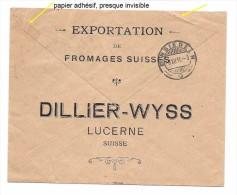 SUISSE 1915 LITTAU Lettre Entier Postal EXPORTATION DE FROMAGES SUISSES, DILLIER-WYSS LUCERNE Pour Einsiedeln - Interi Postali