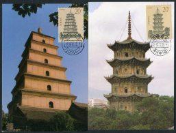 1994 China Pagodas Set Of 4 Maximum Cards - 1949 - ... République Populaire