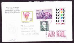 United States Of America USA On Commercial Cover -1988 - Wild Pink Flower, Nabraska, Thomas Jefferson, Love, Ireland - Stati Uniti
