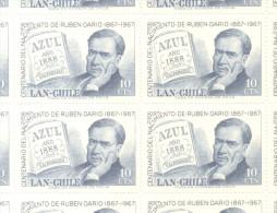 CHILI CHILE CENTENARIO DEL NACIMIENTO DEL POETA RUBEN DARIO - LIBRO AZUL DE 1888 - YVERT AEREO NR. 238 MNH
