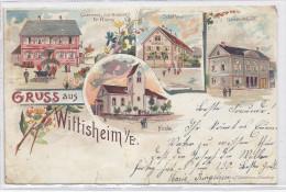 WITTISHEIM GRUSS LITHO GABELMANN GASTHAUS KANONE FR. KIENY SCHUL HAUS MUTTERHOLZ MARKOLSHEIM Pour HESSENHEIM 67 BAS-RHIN - France