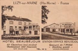 LUZY SUR MARNE - L'HOTEL BEAUSEJOUR - STATION ESSENCE PURFINA - BELLE CARTE - SEPIA - 2 SCANNS - - France
