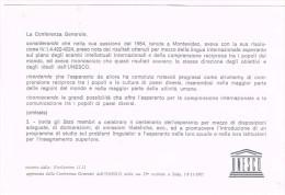 H3314 Cartolina Unesco Diretta Al Direttore Rai Enrico Manca Per La Diffusione Dell'Esperanto / Non Viaggiata - Esperanto