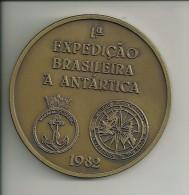 BRASIL  - MEDALLA BRONCE / PRIMERA EXPEDICION ANTARTICA  BRASIL  - BUQUE BARAO DE TEFFÉ -1982 - Other