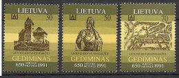 Lithuania 1991 650th anniversary of the death of Lithuanian Grand Duke Gediminas,  Mi 486-488 , MNH(**)