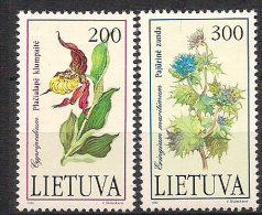 Lithuania 1992 Das rote Buch gef�hrdeter Tiere un Pflanzenarten, flora: orchids,   sea holly  Mi 499-500 , MNH(**)