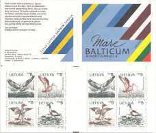 Lithuania 1992 Conservation on the Baltic coast. Birds, Osprey, black-tailed godwit, Goosander, shelduck , booklet