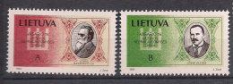Lithuania 1993 Independence Day, Jonas Basanavicius and Jonas Vileisis Mi 516-517, MNH(**)