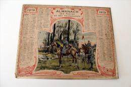 Calendrier 1919, Almanach des PTT,postes,guerre poilus.departement 26 drome,