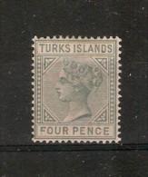 TURKS ISLANDS 1884 4d SG 57 LIGHTLY MOUNTED MINT Cat £40 - Turks & Caicos
