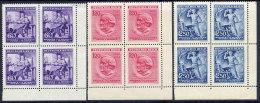 BOHEMIA & MORAVIA 1943 Wagner Anniversary Set In Blocks Of 4 MNH / **. Michel 128-30 - Unused Stamps