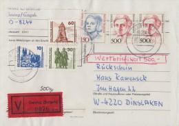 Bund Wertbrief, Rückschein Mif Geising 5.4.91 Mit Einlieferungsschein Seltene Frankatur - BRD