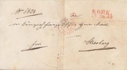Brief Kork 27.6.1843 Roter Stempel Gel. Nach Strassbourg - Deutschland
