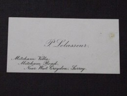 CROYDON SURREY - Visit Card - The Viscount Of PANOUSE In July 1913 Following The Death Of His Daughter - P. LELASSEUR - Visiting Cards