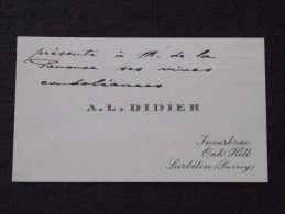SURBITON SURREY - Visit Card - The Viscount Of PANOUSE In July 1913 Following The Death Of His Daughter - A. L. DIDIER - Visiting Cards
