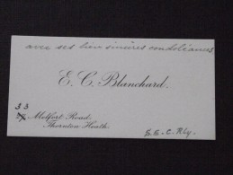 THORNTON HEATH - Visit Card - The Viscount Of PANOUSE In July 1913 Following The Death Of His Daughter - E. C. BLANCHARD - Visiting Cards