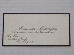 BROCKLEY, LONDON - Visit Card - The Viscount Of PANOUSE In July 1913 Following The Death Of His Daughter - A. LOCKINGTON - Visiting Cards