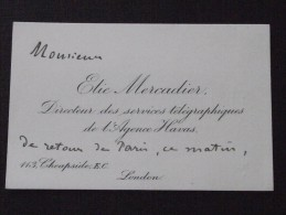 LONDON - Visit Card - The Viscount Of PANOUSE In July 1913 Following The Death Of His Daughter - E. MERCADIER - Visiting Cards