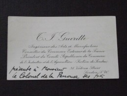 LONDON - Visit Card - The Viscount Of PANOUSE In July 1913 Following The Death Of His Daughter - T. F. GUERITTE - Visiting Cards