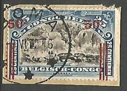 CONGO BELGE N� 90 OBL SUR FRAGMENT