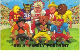 'Big 8' College Football Mascots Nebraska Kansas State Colorado Missouri Oklahoma State Iowa C1960s/70s Vintage Postcard - Schools