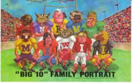 'Big 10' College Football Mascots Minnesota Wisconsin Illionois Iowa Michigan Universities C1960s/70s Vintage Postcard - Schools