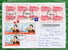 4 VIET NAM 2012 Sobre Circulado De Viet Nam  A Montevideo-Uruguay TT.: Puentes,Edificios, Personalidades - Vietnam