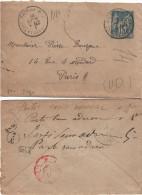 FRANCE Enveloppe Entier  90-E1 (o) Type Sage Dest Bourgne Rue Médard Mars 1891 - Parti Sans Adresse - Postal Stamped Stationery