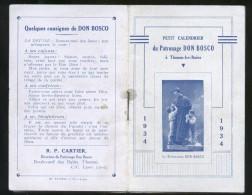 RARO CALENDARIETTO FRANCESE DEL 1934 DEDICATO A S.GIOVANNI BOSCO - Calendari