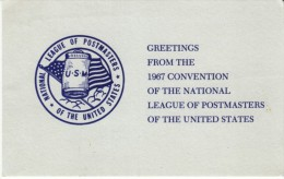 1967 Convention National League Of Postmasters Of USA, Postal System, C1960s Vintage Postcard - Postal Services