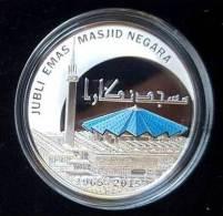 Malaysia 2015 National Mosque 10 Ringgit Silver 99.9 Proof Coin Coa & Box - Malaysia