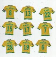 MAGNET , SPORT , FOOTBALL , Maillot équipe De NANTES , Just Foot 2009 , LOT DE 9 MAGNETS - Sport