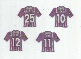MAGNET , SPORT , FOOTBALL , Maillot équipe De TOULOUSE , Just Foot , 2010 , LOT DE 4 MAGNETS - Sports