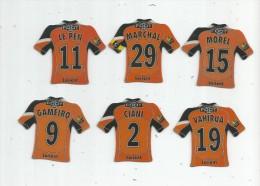 MAGNET , SPORT , FOOTBALL , Maillot équipe De LORIENT , Just Foot , 2009 , LOT DE 6 MAGNETS - Sport