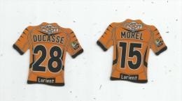 MAGNET , SPORT , FOOTBALL , Maillot équipe De LORIENT , Just Foot , 2010 , LOT DE 2 MAGNETS - Sports