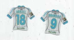 MAGNET , SPORT , FOOTBALL , Maillot équipe De MARSEILLE , Just Foot , 2010 , LOT DE 2 MAGNETS - Sports