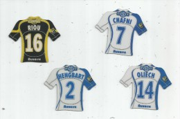 MAGNET , SPORT , FOOTBALL , Maillot équipe D'AUXERRE , Just Foot , 2009 , LOT DE 4 MAGNETS - Sport