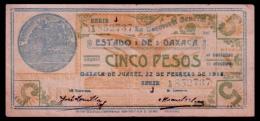 Mexico Oaxaca 5 Pesos 1916 VF - Mexico