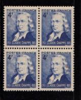 FRANCE 1944 1 Bloc De Quatre (4) YT N°619** Sesquicentenaire Du Télégraphe Optique Claude CHAPPE Ingénieur - Frankreich