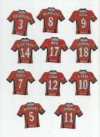 MAGNET , SPORT , FOOTBALL , Maillot équipe De RENNES , Just Foot , 2009 , LOT DE 11 MAGNETS - Sports