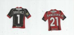 MAGNET , SPORT , FOOTBALL , Maillot équipe De RENNES , Just Foot , 2010 , LOT DE 2 MAGNETS - Sports