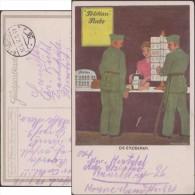 Allemagne 1917. Carte En Franchise Militaire. Pelikan, Encres. Die Eroberer, Le Conquérant. Bouteille D'encre - Cómics